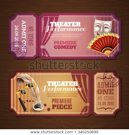 Theater tickets maskers komedie drama vector Stockfoto © robuart
