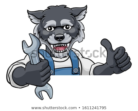 Wolf loodgieter monteur moersleutel Stockfoto © Krisdog