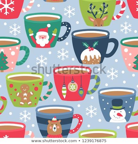 Sevimli sıcak çikolata kurabiye Noel poster Stok fotoğraf © balasoiu