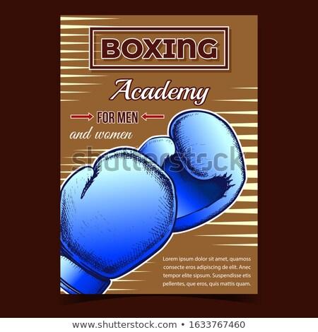 Boxkesztyű védelmez visel retro vektor doboz Stock fotó © pikepicture