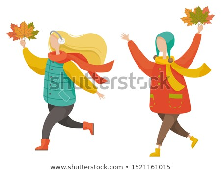 People Running Outdoor with Maple Leaves in Hands Stock photo © robuart
