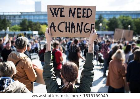 protesta · público · demostración · micrófono · enfoque · borroso - foto stock © bayberry