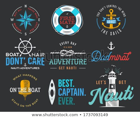 Nautical vintage prints designs set for t-shirts, apparel. Marine logos and badges. Retro typography Stock photo © JeksonGraphics