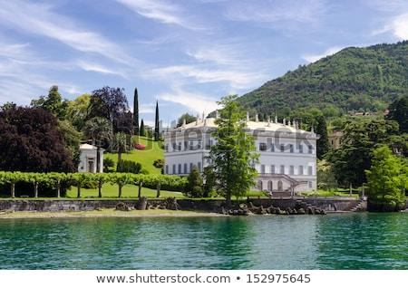 Villa bahçeler göl İtalya ağaç çim Stok fotoğraf © ShustrikS
