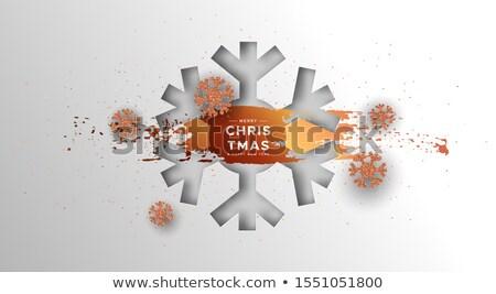 Karácsony új év kártya bronz hópehely vidám Stock fotó © cienpies