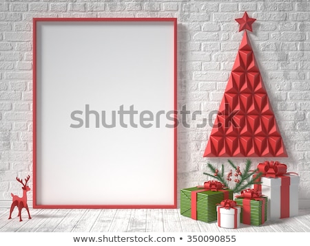 Mock up blank wooden picture frame Christmas decoration 3D Stock photo © djmilic
