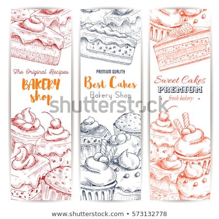 Dulce panadería cremoso Berry postre banner Foto stock © pikepicture