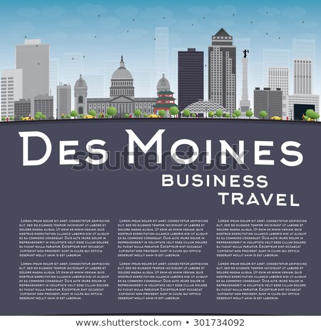 Des Moines Skyline with Grey Buildings, Blue Sky and copy space Stock photo © ShustrikS