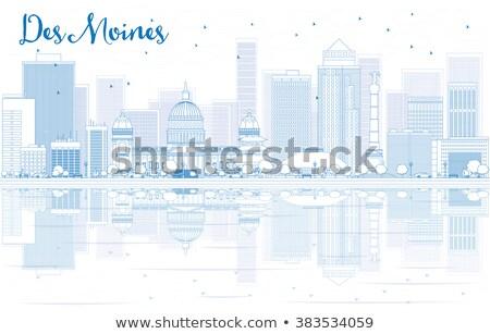 Outline Des Moines Skyline with Blue Buildings Stock photo © ShustrikS