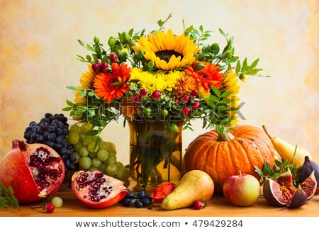 Autumn harvest food still life with season fruits grape, red apples and figs. Stock photo © Illia