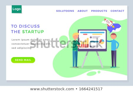 Man Standing near Statistics Chart and Looking UP Stock photo © robuart
