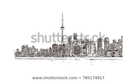Toronto City skyline black and white silhouette Stock photo © ShustrikS