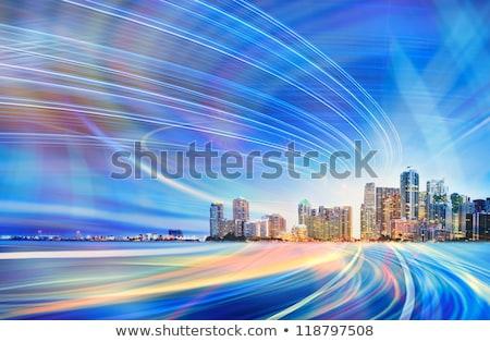 Absztrakt Miami sziluett szín épületek üzleti út Stock fotó © ShustrikS