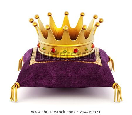 Royal gold crown on purple pillow Stock photo © magraphics
