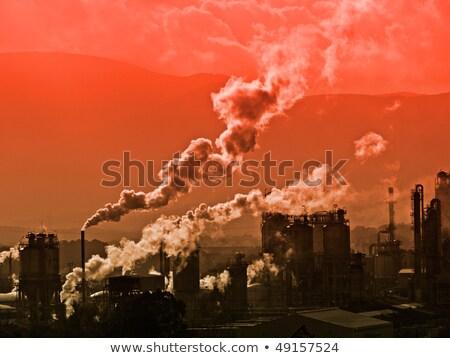 Energiecentrale rook schoorsteen Spanje lucht verontreiniging Stockfoto © amok