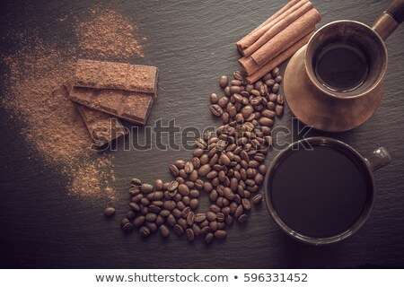 Kávé réz tányér antik kanál fából készült Stock fotó © grafvision