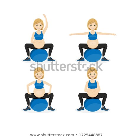 Set of young beautiful pregnancy woman on ball. Fitness healthy lifestyle. Prenatal exercise. Vector Stock photo © Imaagio