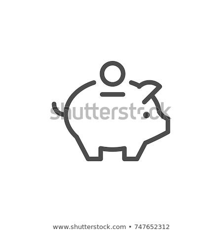 Suino soldi finestra icona vettore contorno Foto d'archivio © pikepicture