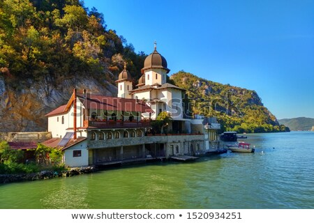 Mraconia Monastery in Romanian side of Danube river Stock photo © boggy