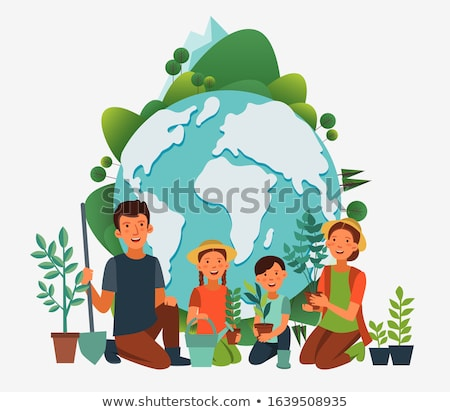 Young man planting the tree in the garden as earth day and save  Stock photo © Freedomz