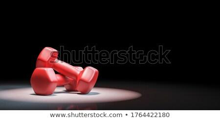 Rojo pesas negro par espacio de la copia 3d Foto stock © make