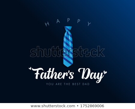 Happy Fathers Day Greeting Card Design With Sriped Bow Tie And Typography Letter On Blue Background Stok fotoğraf © articular