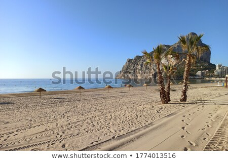 Homokos tengerpart természetes park kilátás Spanyolország türkiz Stock fotó © amok