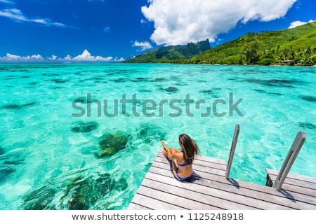 Lüks tatil seyahat cennet bikini kadın Stok fotoğraf © Maridav