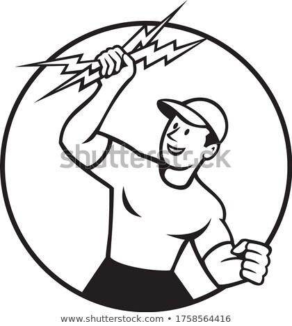 Elektrikçi daire karikatür siyah beyaz Stok fotoğraf © patrimonio
