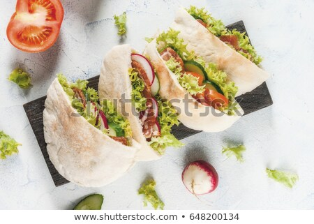 Caseiro pita pão carne ervas delicioso Foto stock © Peteer