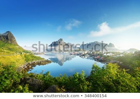 Aldeia Noruega tradicional pescaria vermelho Foto stock © dmitry_rukhlenko