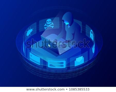 Hackers código binário isométrica ícone vetor assinar Foto stock © pikepicture