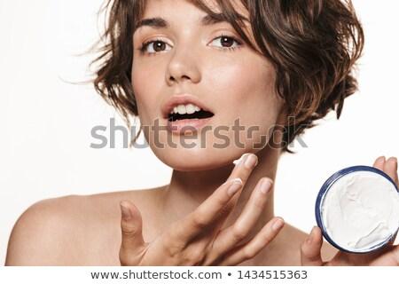 Piękna portret atrakcyjny młodych topless brunetka Zdjęcia stock © deandrobot