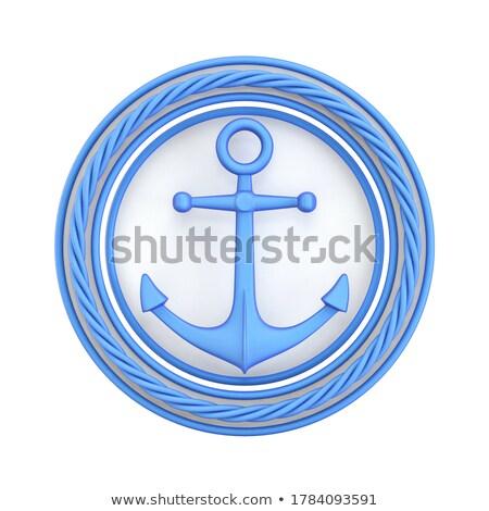 Branco azul âncora círculo corda 3D Foto stock © djmilic
