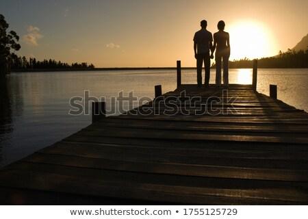 couple in love back light silhouette at lake sunset stock photo © lunamarina