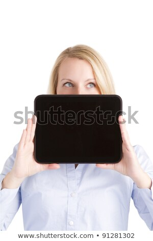 Up Looking Woman Hiding Behind Touch Pad Tablet Stock photo © Amosnet