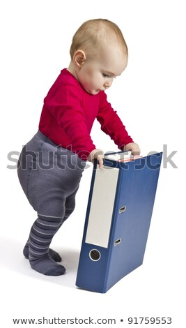 small child standing next to blue ring binder Stock photo © gewoldi