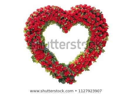 coração · buquê · rosas · vermelhas · isolado · branco - foto stock © andreykr