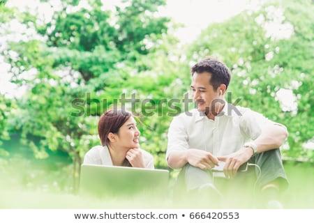 çift park dizüstü bilgisayar kadın Internet adam Stok fotoğraf © photography33