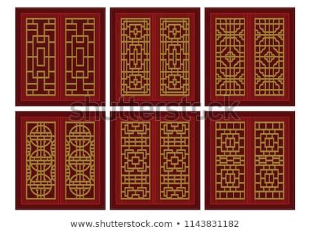 Hagyományos kínai ősi ajtó piros arany Stock fotó © bbbar
