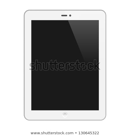 Сток-фото: Black Vector Tablet Pc With White Screen