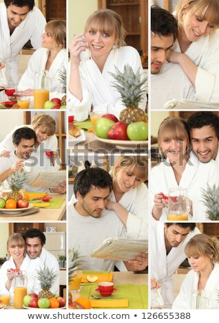 Mosaic of couple having breakfast together Stock photo © photography33