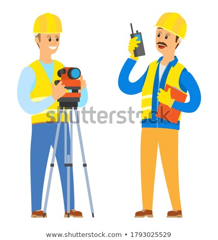 Architect with radio receiver and plans Stock photo © photography33