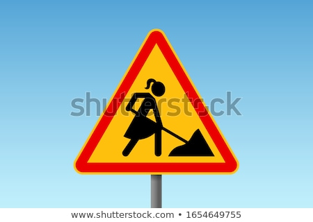 Female road-worker with sign Stock photo © photography33