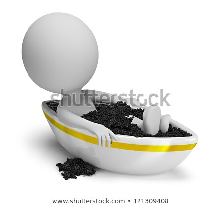 3d small people   caviar bath stock photo © anatolym