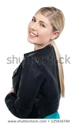 femme · Retour · sourire · isolé · blanche - photo stock © stockyimages