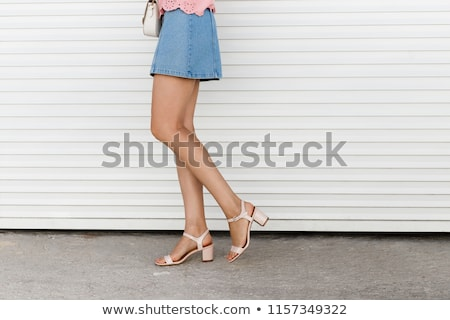 Detail vrouw denim zomerschoenen vrouwen Stockfoto © phbcz