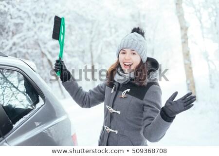 Boldog nő fehér szőr kalap autó Stock fotó © Nobilior