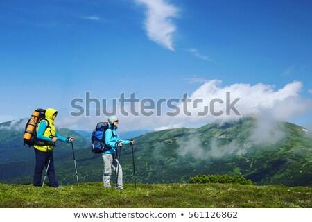 Backpacker wildernis parcours vijver gelukkig Stockfoto © wildnerdpix
