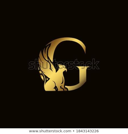 Stockfoto: Goud · griffioen · ontwerp · gouden · heraldiek · frame